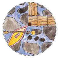 Stelzenhaus am Wasser Stege Anlegestelle für Boot und Kajak