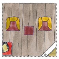 Gartenhausüberdacht - Wohnzimmer mit bunten Sessel