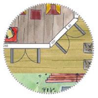 Überdachtes Gartenhaus Skizze mit 2 Flügeltüren