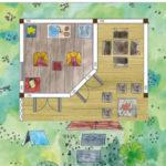 Gartenhaus mit überdachter Terrasse einrichten planen und gestalten
