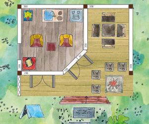 Gartenhaus mit überdachter Terrasse (Skizze): Grillecke, 45° Wand und Windschutz
