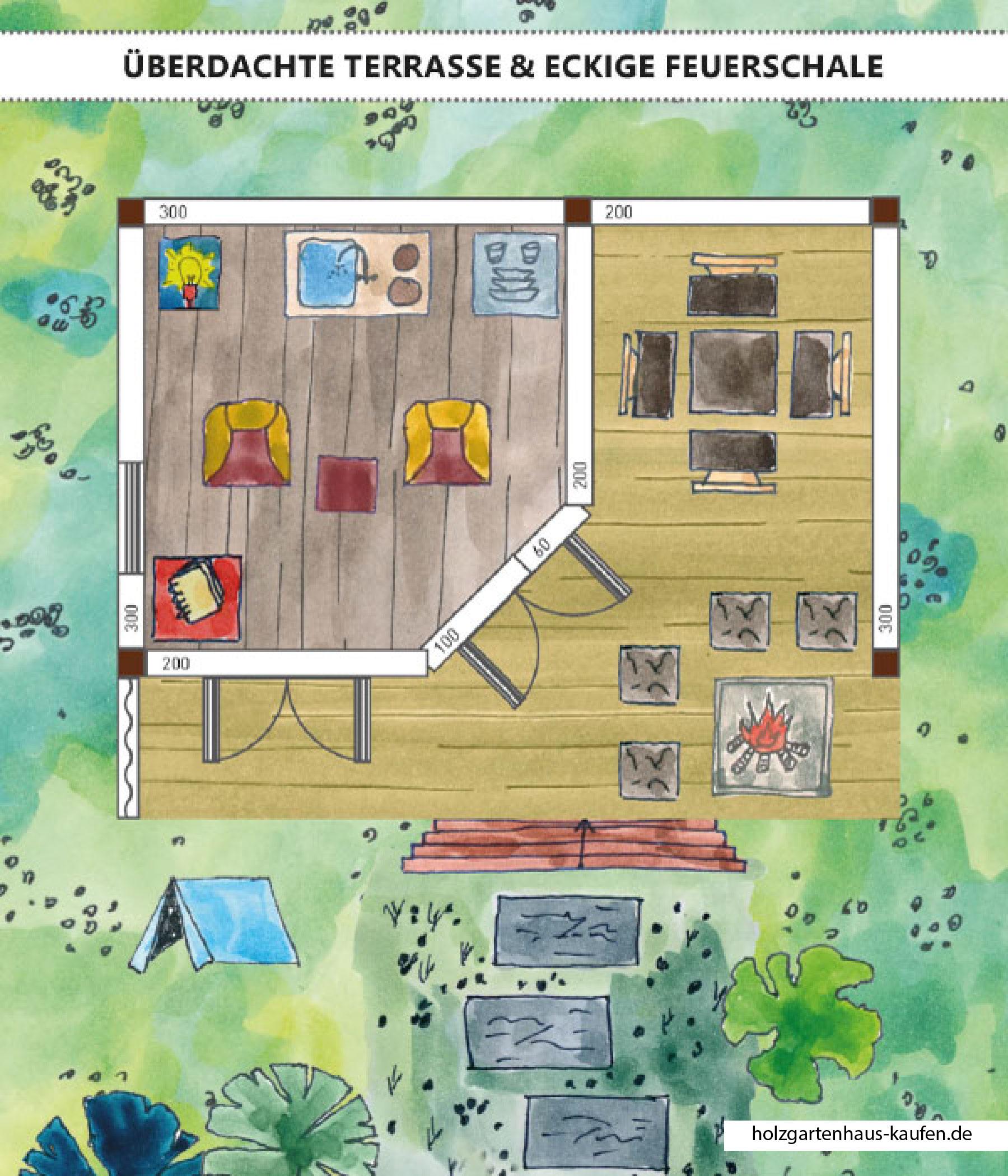 Gartenhaus Mit Uberdachter Terrasse Skizze Grillecke 45 Wand