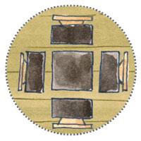 Überdachte Terrasse im Gatenhaus Sitzecke zum Grillen