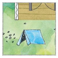 Kinderzelt vor Gartenhaus: Kinderbeschäftigung in Gartenidyll