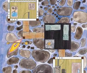 Stelzenhaus am Wasser mit Stegen und Maßen Beispiel-Skizze (Pfahlhaus-Ensemble)