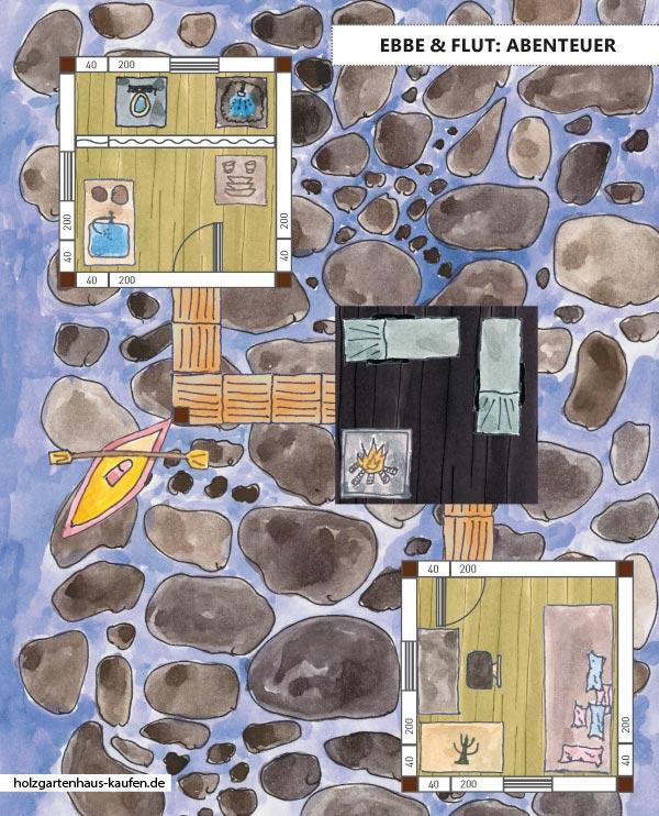 Stelzenhaus Pfahlhaus am Wasser Skizze mit 2 Gartenhäusern und Feuerstelle