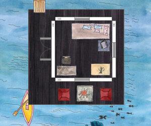 Angler-Gartenhaus: Fischerhütte im See planen (Skizze)
