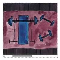 Fitnessgartenhaus - Hantelbank, Gewichte