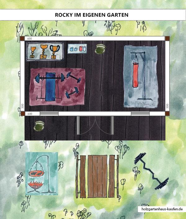 Fitnessgartenhaus - Trainingshaus Designkonzept (Boxen & Gewichte stemmen) Skizze