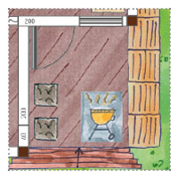 Gästehaus-Gartenhaus planen: Kugelgrill auf Terrasse