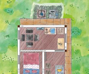 Gartenhaus-Gästehaus mit versteckter Toilette, extra Schlafraum und überdachter Terrasse