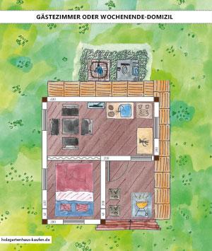 Gartenhaus Gästehaus Mit Wc Dusche Extra Schlafraum Grill Skizze