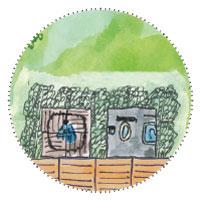 Gästehaus-Gartenhaus planen: Dusche - Toilette hinter dem Haus