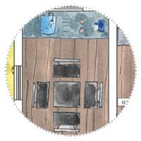 Gartenhaus mit 4 abgetrennten räumen - Esstisch und Einkoch-Küche