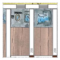 Gartenhaus mit 4 abgetrennten räumen - Sanitärbereich: Dusche und Toilette