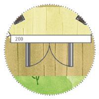 Grillkota Sechseckig: Grundriss-Skizze: Außenbereich