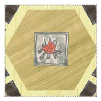 Grillkota Sechseckig: Grundriss-Skizze: Feuerschale-Grill in der Mitte mit Kamin