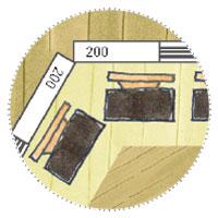 Grillkota Sechseckig: Grundriss-Skizze: gemütliche Sitzbänke