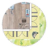 Künstler Atelier Gartenhaus planen mit viel Licht durch 8 Doppelflügeltüren