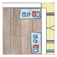 Künstler Atelier Gartenhaus planen mit Regal für Acryl-Farben und Papierrollen