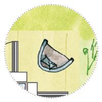 Künstler Atelier Gartenhaus planen mit Terrasse und Sessel zum Nachdenken