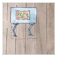 Künstler Atelier Gartenhaus planen mit verstellbarem Zeichentisch und mit Staffelei