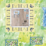Künstler Atelier Holz-Gartenhaus (Skizze, Einrichtungsidee)
