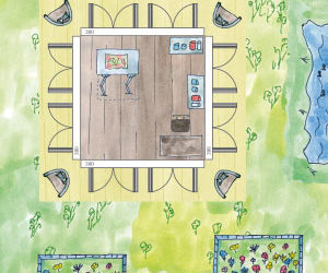 Künstler Gartenhaus Atelier mit viel Licht (Grundriss & Einrichtungsbeispiel)