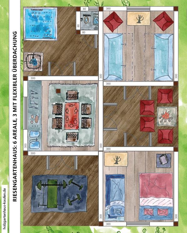 Riesiges Gartenhaus 6 x 9 m mit 3 Terrassen und 3 Häuschen Bild- Gestaltungskonzept (Günstig mit Standar-Baumarkt-Gartenhäusern)