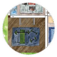 Riesiges Gartenhaus mit Fitnessbereich: Hantelbank