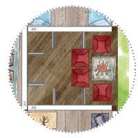 """Risengartenhaus mit 6 """"Räumen"""" hier Feuerstelle mit Sesseln"""