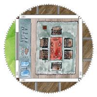 Riesengartenhaus: Zentrale Station ist die Küche mit Esstisch für 6 Personen