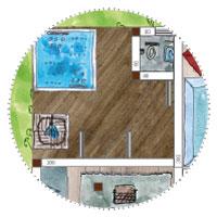 Riesiges Gartenhaus Wellness - Sanitär Bereich mit beheiztem Whirlpool