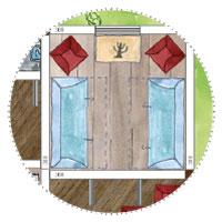 Riesiges Gartenhaus Wohnzimmer 2 Ausziehsofas und Kommode und Sessel