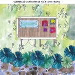 Schmales Gartenhaus man Strand Beispiel