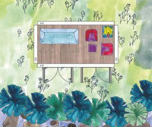 Einfaches schmales Gartenhaus am Steinstrand (bunte Skizze)