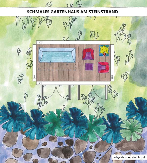 Schmales Gartenhaus am Strand, Meer oder Seeufer - Grundriss - Einfaches Einrichtungskonzept