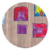 Schmales Gartenhaus - Bunte Sessel im Farbkonzept