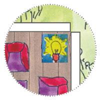 Schmales Gartenhaus - Solarlampe im Einrichtungskonzept