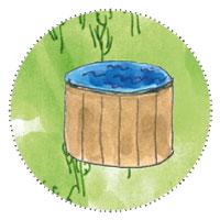 6 Eck Gartenhaus zum Gamer, zocken: Badezuber zum Abkühlen