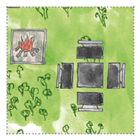 6 Eck Gartenhaus zum Gamer, zocken: Grillstelle und Sitzecke