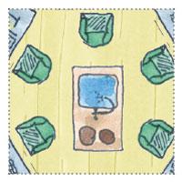 6-Eckiges Gartenhaus zum Gamer, zocken: Miniküche, Einrichtungskonzept