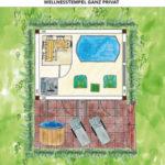 Wellness Gartenhaus mit Whirlpool und Sauna einrichten