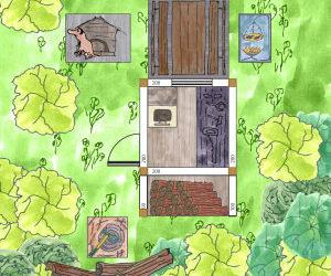 Waldgartenhaus und Holzwerkstatt + Hundehütte im heimischen Wäldchen