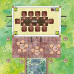 Konferenz-Gartenhaus aus Holz planen - Skizze mit Terrasse und Stehtischen