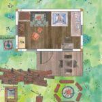 Rustikales Gartenhaus mit Kamin und Hundebett. Einrichtungsideen