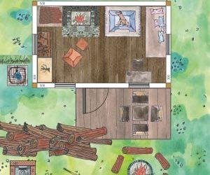 Gartenhaus rustikal einrichten mit Kamin, Hundekorb und Liege