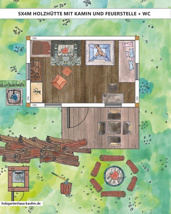 Holz Gartenhaus rustikal einrichten mit Kamin und Hundekorb