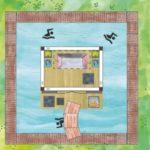 Poolgartenhaus mit Holzterrasse und Schwimmbahn