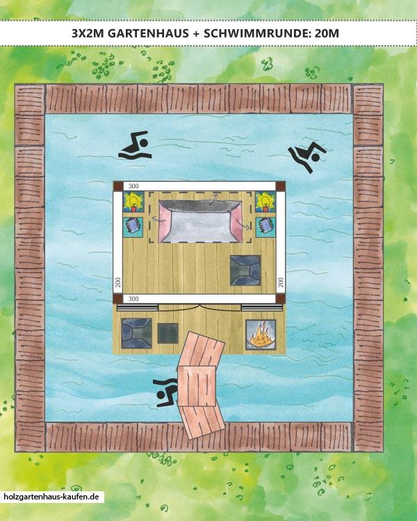 Pool Gartenhaus mit 20m Schwimmbahn